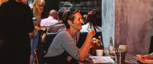 Alison Clarkson enjoying a drink at the Hubbox Bristol launch.