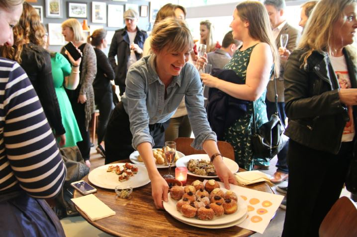 Bomboloni - Bristol restaurant launch. Media and bloggers enjoying canapes and wine at the launch party.