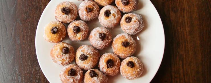 Bomboloni - Bristol restaurant launch. A plate of bomboloni doughnuts.