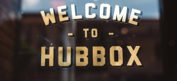 Welcome to Hubbox - Words on glass for the Bristol Food PR launch of Hubbox by Pam Lloyd PR