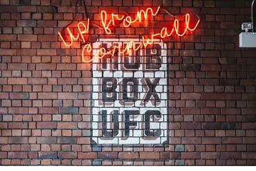 Up from Cornwall Hub Box U F C sign. Interior of Hubbox Bristol