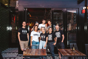 The team at Hubbox Bristol standing in front of the restaurant on the launch night.