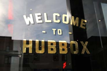 Welcome to Hubbox - Words on glass for the Bristol Food PR launch of Hubbox