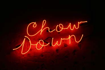 Chow down neon sign at hubbox Bristol