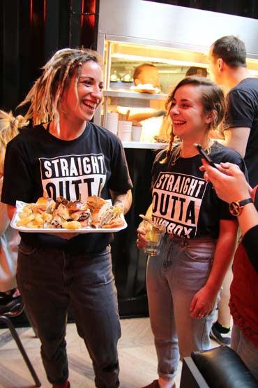 Staff serving food at the Hubbox Bristol launch
