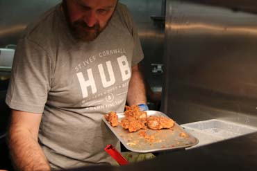 Fried chicken being cooked at the Hubbox Bristol launch