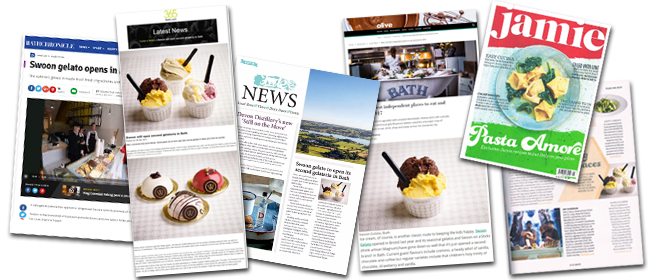 Swoon coverage Q2 - Olive magazine, Food lover magazine, Jamie Magazine, Bath chronicle.