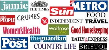 Logos from magazines and newspapers.