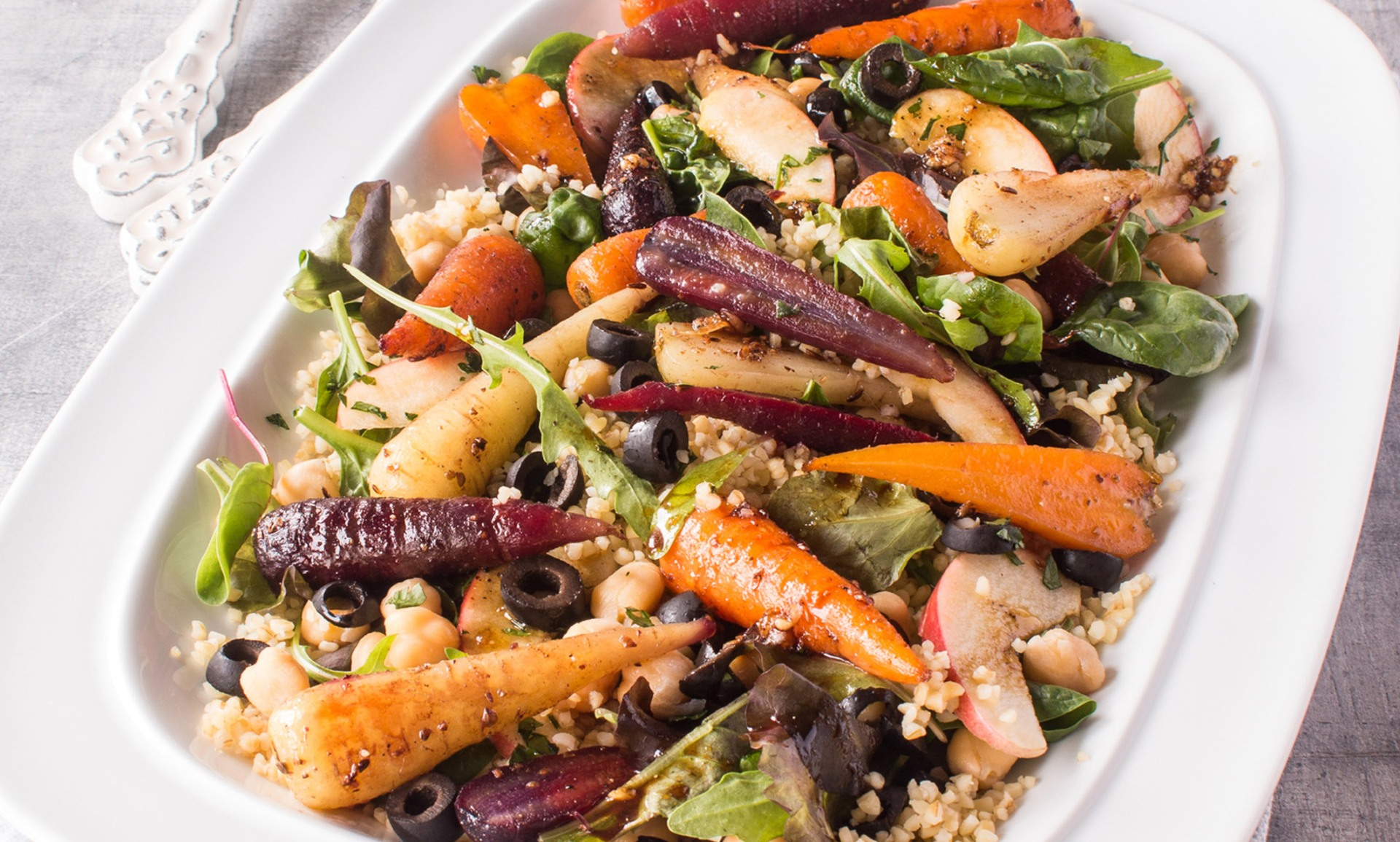 Chantenay Carrot, Bulgar Wheat and Chickpea Spicy Salad