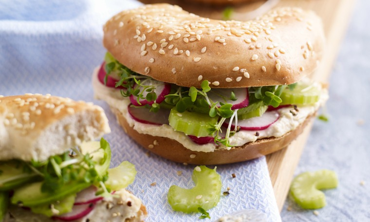 Radish and Celery Goodness Bagel