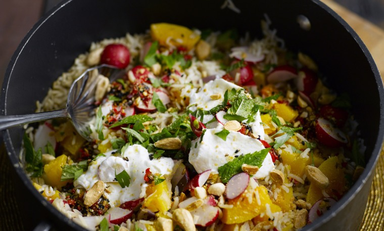 Butternut pilaf with almonds and greek yogurt