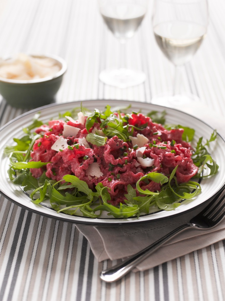 Beetroot & sour cream pasta with a rocket salad