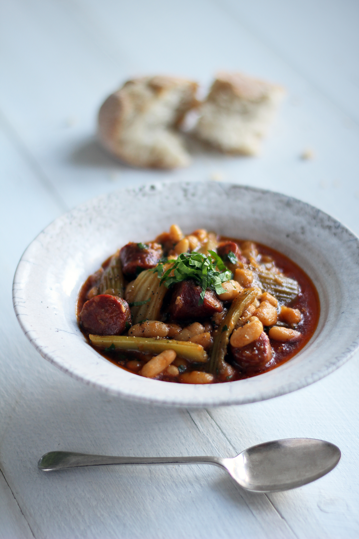 winter stew of fenland celery, chorizo & cannellini beans 1