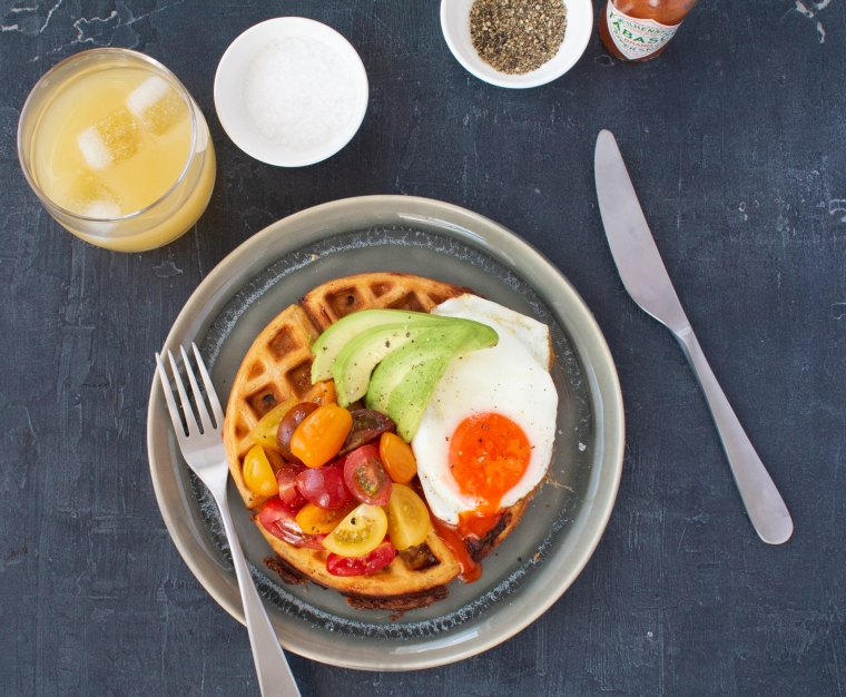 Roasted Isle of Wight tomato and cheddar waffles